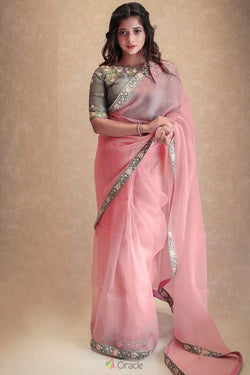 Attractive Sangeet Wear Saree with Sage Thread Embroidery Work