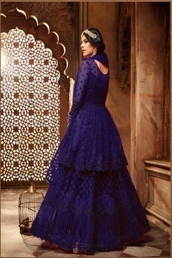 Party Wear Designer Gown in Attractive Violet With Embroidery Work