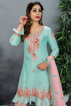 Evening Wear Salawar Suit In Attractive Sky Blue Codding Work