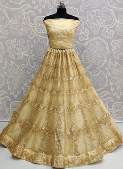 Attractive 3D Sequence Embroidery Work Heavy Net Bridal Wear Lehenga Choli in Gold