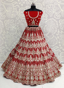 Multi Embroidery with Diamond and Dori Work Pure Velvet Bridesmaid Dulhan Heavy Lehenga Choli in Majestic Red