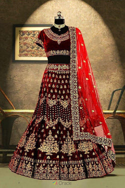 Beautiful Maroon Velvet With Kundan Work Bridesmaid Lehenga Choli