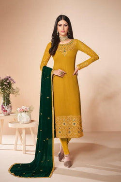 Bollywood Dress in Lovely Yellow Faux Georgette with Zari Embroidery