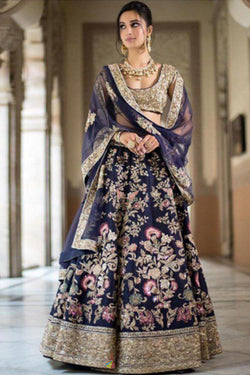 Bridal Wedding Wear Lehenga Choli in Blue Flowery Work