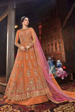 Wedding Sangeet Wear Bride Net Orange Designer Indo Western Suit