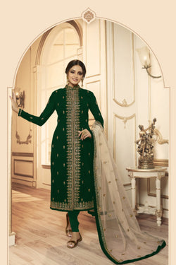 Bride Net Embroidered Work Indo Western Suit in Delightful Green