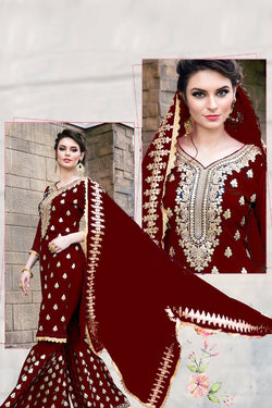 Front Neck Pattern of Red Embrodiered Sharara Suit Design for Women - Bridal Ethnic