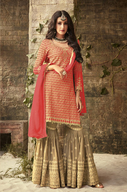 016a1a0a446d1 Shop Sandy Brown and Green Sharara Suit Online in India, USA - Bridal Ethnic