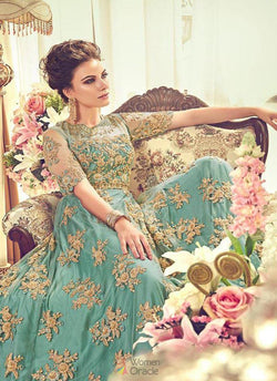 Bollywood Gown in Charming Aqua Marine Heavy Net Stone Work