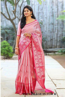 Pure Banarasi Silk Evening Party Wear Saree in Charming Coral
