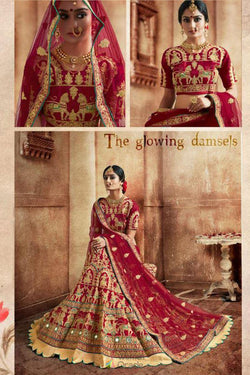 Heavy Lace work Wedding wear Bridal Lehenga Choli in Charming Maroon
