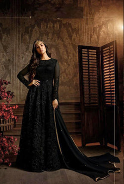 Latest Trendy Thread work Designer Bollywood Gown in Charming Black
