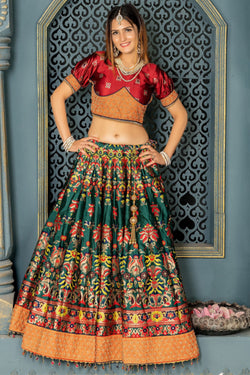 Bollywood Style Bridesmaid Lehenga In Delightful Ruby Silk