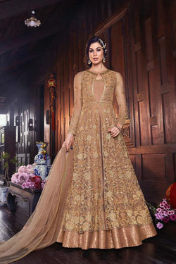 Designer Indo Western Suit in Charming Tan color from Bridal Ethnic