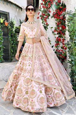 Latest Bollywood Lehenga Choli in Flamingo Pink Chennai Silk with Resham Zari Work