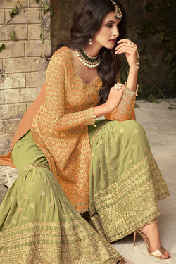 Front Neck Pattern of Brown and Olive Green Sharara Suit Design for Women - Bridal Ethnic