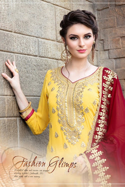 Front Neck Pattern of Designer Yellow and Red Sharara Suit Design Online - Bridal Ehnic