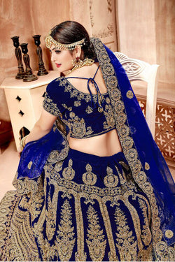 Back Neck Pattern of Blue Velvet Bridal Lehenga Choli Design for Women - Bridal Ethnic