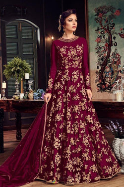 Dark Maroon Heavy Net Designer Wedding Wear Long Gown
