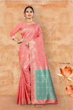 Pink Banglori Lichi Silk Festive Wear saree by Indian Designer