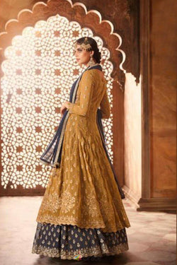 Goldenrod Embroidery Work festival Wear Gorgeous Western Suit