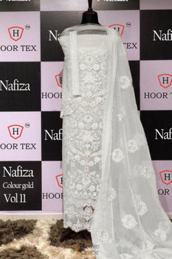 Festive Wear Salawar Suit in Gorgeous White Embroidered Work