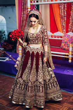 Latest Trendy Diamond Work Lehenga Choli in Maroon Pure Velvet