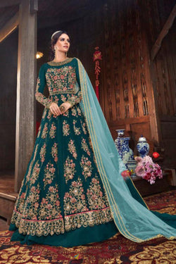 Latest Trendy Indo Westrn Suit in Thread Work for Reception Wear