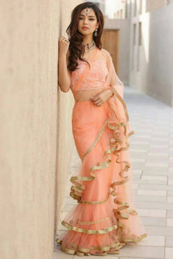 Latest Reception Function Wear Ruffle Saree in Trendy Nylone Net