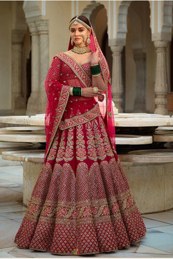 Lotus Pink Banarasi Silk Embroidery Work Wedding Wear Bridal Lehenga Choli