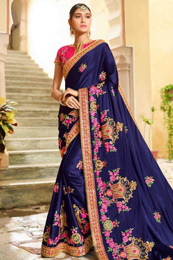 Bollywood Style Designer Saree in Lovely Blue Banglori Silk