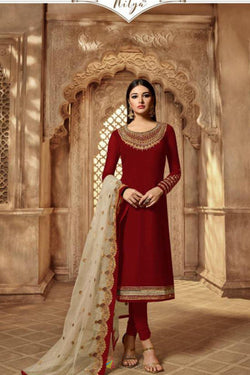 Faux Georgette Zari Embroidered Western Suit in Lovely Maroon