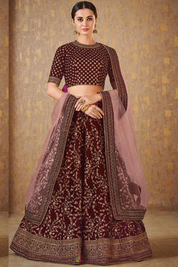 Mulberry Silk Party Wear Designer Lehenga Choli in Lovely Maroon