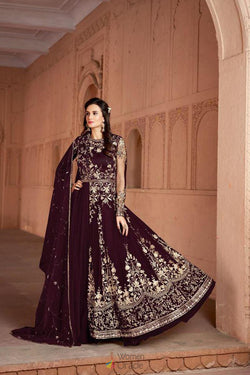 Bollywood Anarkali Gown in Maroon Butterfly Net Reception Wear
