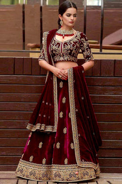 Shop Maroon Velvet Embroidered Lehenga Choli Online in India, USA - Bridal Ethnic