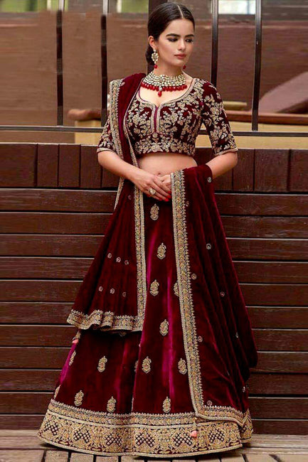 e39b7361c2 Maroon Velvet Embroidered Lehenga Choli Maroon Velvet Embroidered Lehenga  Choli