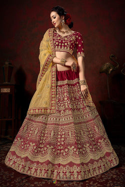 Wedding Bridal Lehenga Choli in Mermaid Winsome Maroon Naylon Silk