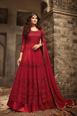 Red Net With Stone Embroidered Work Floor Length Designer Gown