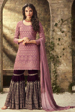 Shop Orchid Purple Designer Sharara Suit online in India, USA - Bridal Ethnic