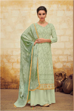 Sangeet Wear Palazzo Dress in Pale Green Flowery Thread Work