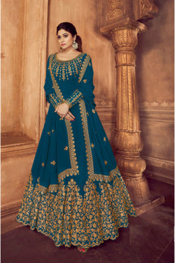 Indo Western Salwar kameez in Pale Firozi Thread Work for Sangeet Wear