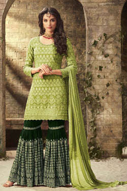 Shop Parrot Green Embroidered Sharara Suit Online in India, USA - Bridal Ethnic