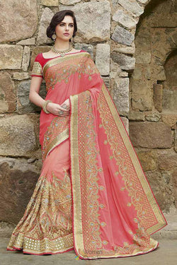 Wedding Wear Bridal Saree in Pink Chinnon Silk With Embroidered Work