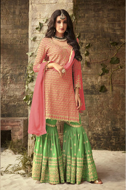 Shop Pink and Green Embroidered Sharara Suit Online in India, USA - Bridal Ethnic