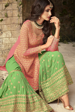 Front Neck pattern of Pink and Green Embroidered Sharara Suit Design for Women - Bridal Ethnic