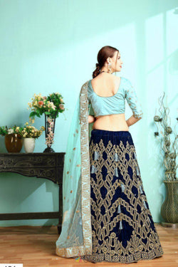 Wedding Wear Lehenga in Pleasing Navy Blue Thrend Work