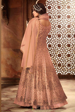 Bride Net with Embroidery Work Party Wear Gown in Pleasing Peach