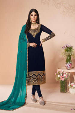 Reception Wear Suit in Pleasing Navy Blue with Stone Work