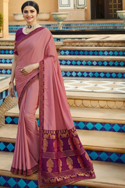 Fashionable Pale Pink Party Wear Designer Saree from Prachi Desai wardrobe