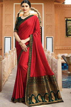 Fashionable Red Rangoli Silk Bollywood Saree from Prachi Desai wardrobe